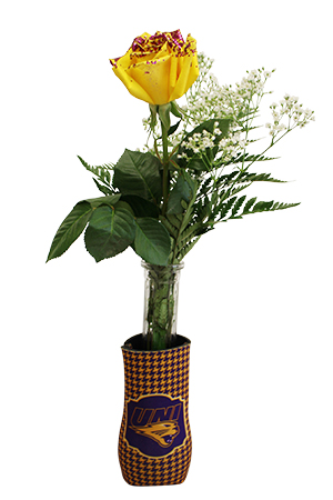 1 Yellow Rose w/ Purple Glitter and Koozie