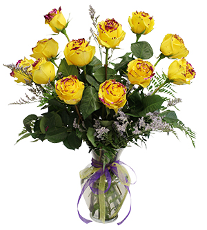 1 dozen Yellow Roses with Purple Glitter Vase