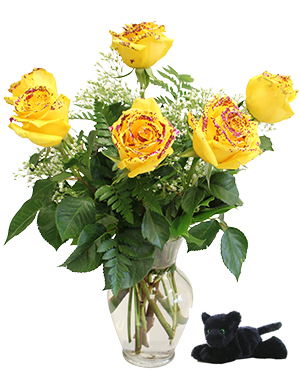 6 Yellow Roses with Purple Glitter Vase