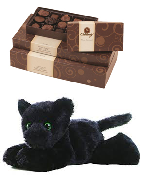 Panther Plush with Chocolate Box