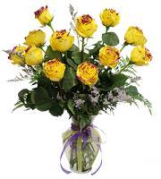 1 dozen Yellow Roses w/ Purple Glitter Vase