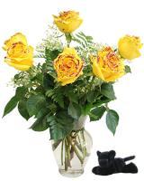 6 Yellow Roses w/ Purple Glitter Vase