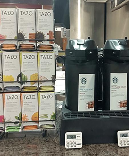 Serving Starbucks Coffee and Tazo Tea