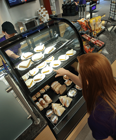 Serving grab-n-go items, along with specialty grilled cheese sandwiches and soup