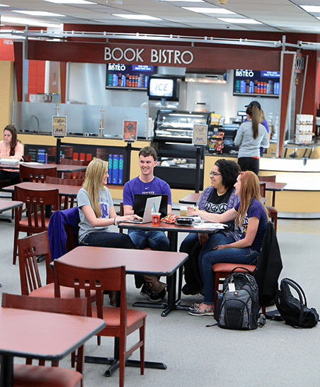 Relax with friends or study in the library while enjoying a coffee or snack from Book Bistro