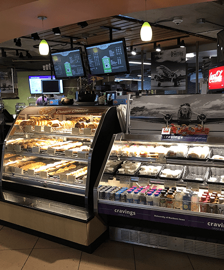 Serving grab & go items, along with The Roasterie coffee drinks and Freshens smoothies.