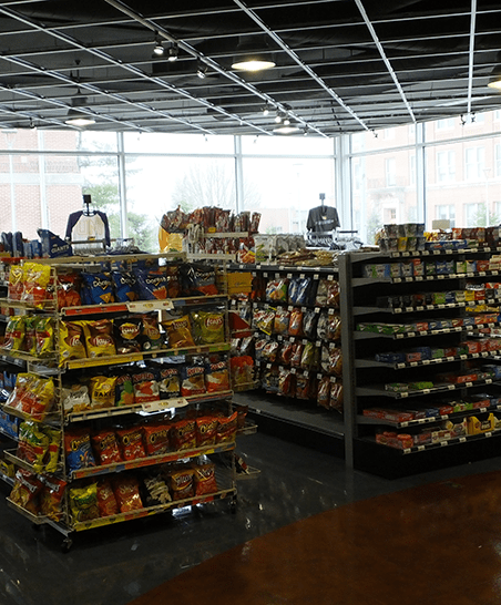 Full assortment of snack foods and beverages