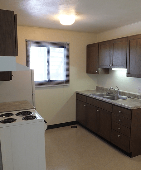 Kitchen with updated cabinets and countertops, stove and refrigerator
