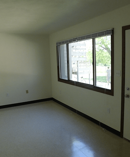 Unfurnished living space at main entrance of apartment