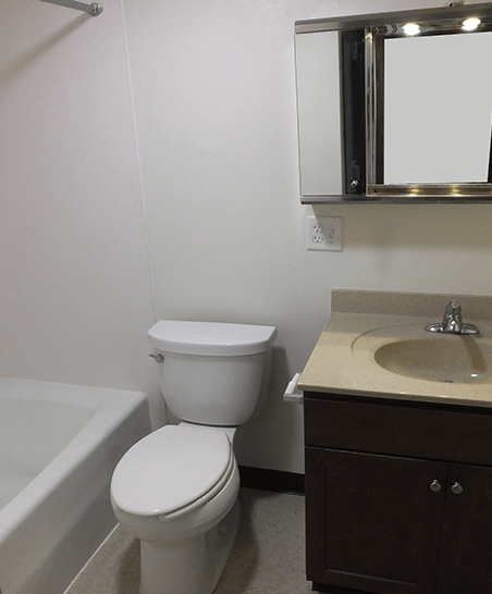 Bathroom with updated vanity and tub/shower
