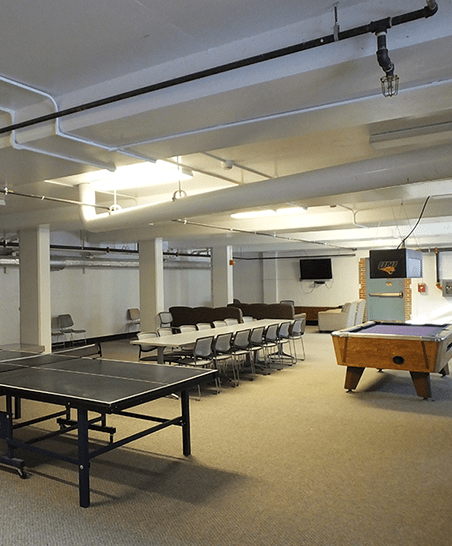 The rec room is located in the lower level.