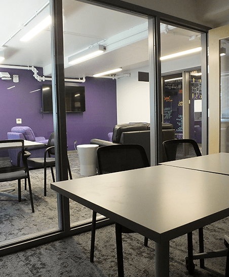 Lounges include private meeting/study spaces connected to the community space.