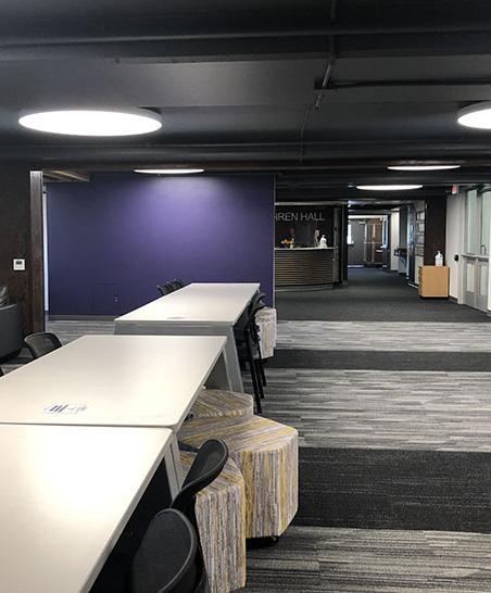 The main lobby has plenty of study and social space.