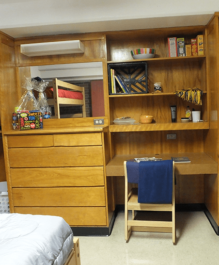Built-in storage space and desk.
